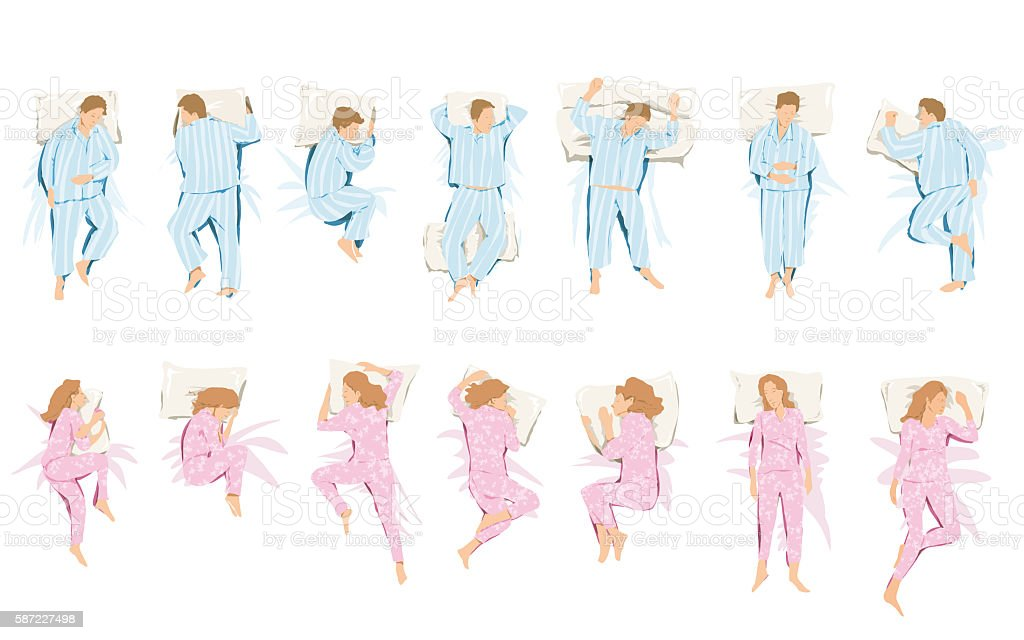 Illustration of different positions that take in sleep and dream vector art illustration