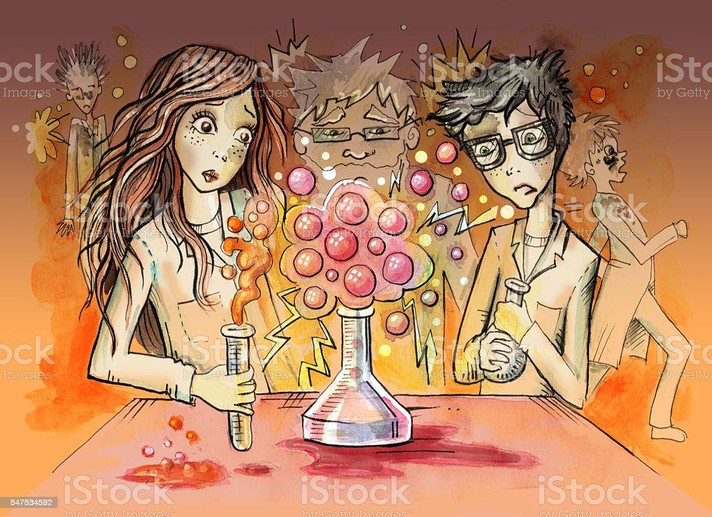 Illustration of explosion during chemistry class vector art illustration