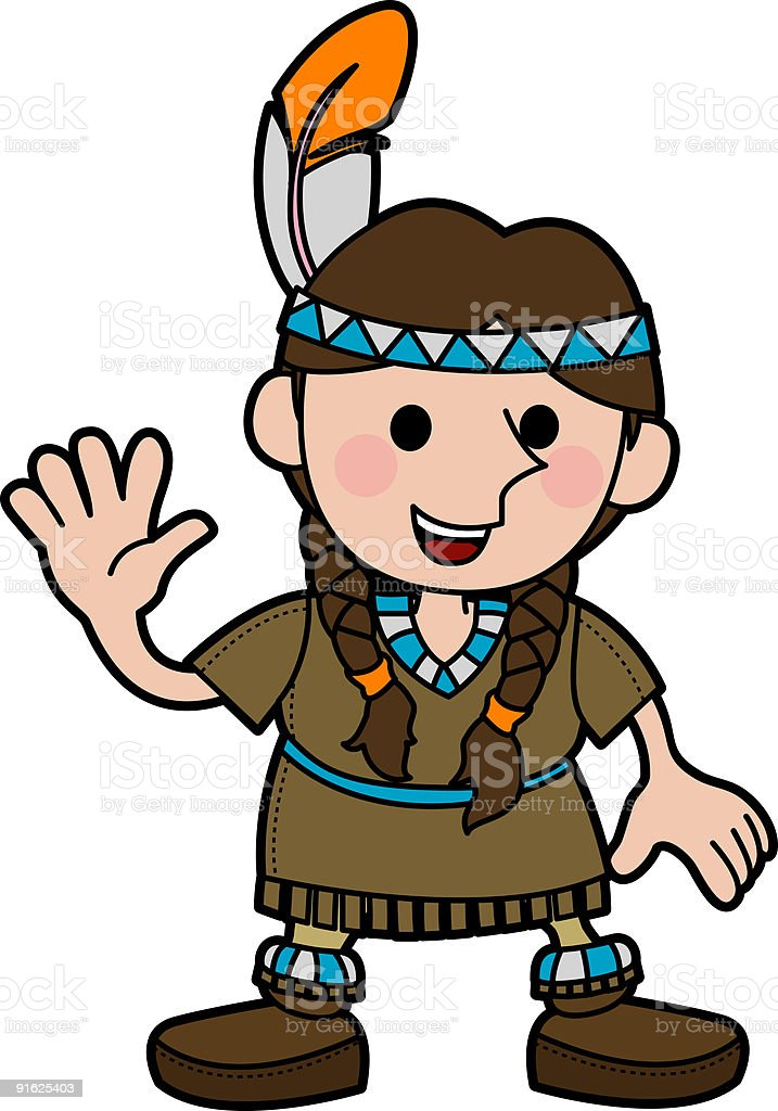 Illustration of girl in Native American costume royalty-free stock vector art