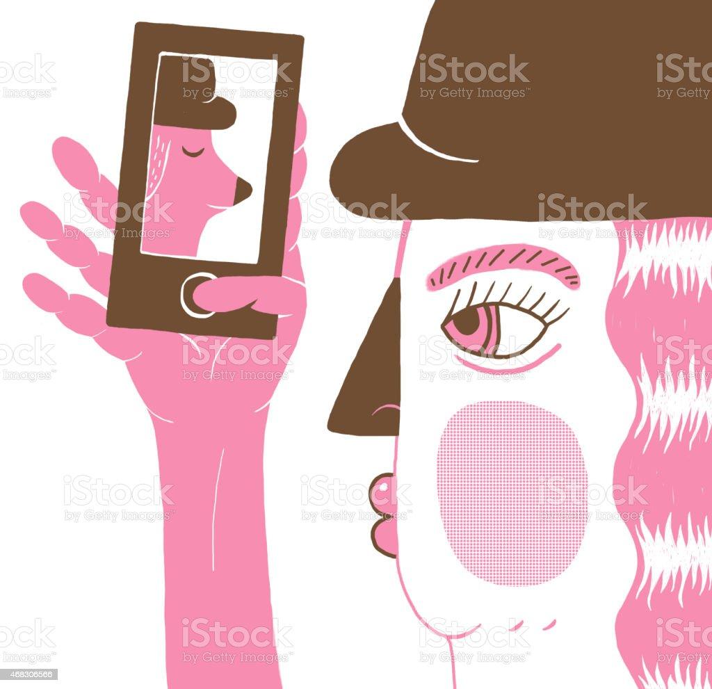 illustration of girl taking selfie on her mobile telephone vector art illustration