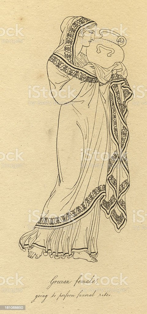 Illustration of Grecian Female Dressed to Perform Funeral Rites royalty-free stock vector art