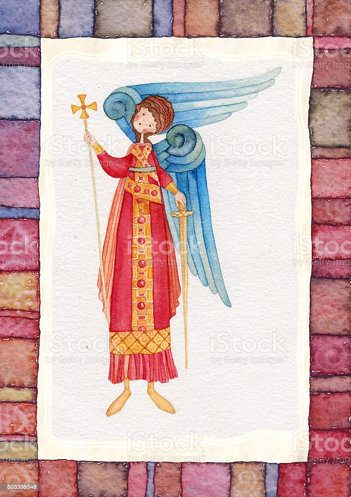 Illustration of Guardian Angel vector art illustration