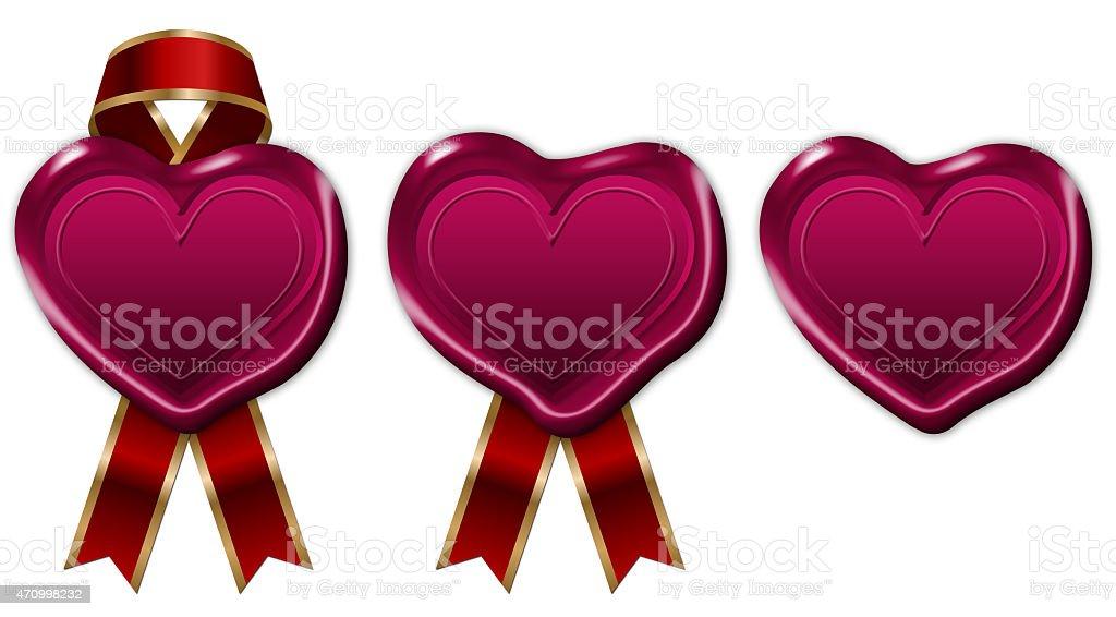 illustration of heart shape wax seal vector art illustration