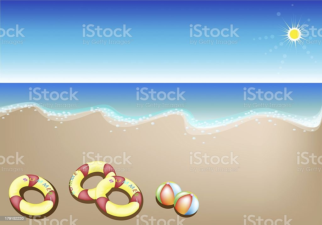 Illustration of Inflatable Rings and Beach Balls royalty-free stock vector art