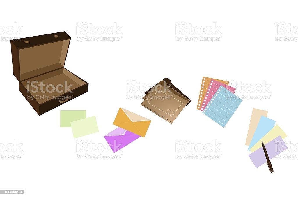 Illustration of Leather Suitcase with Office Supply vector art illustration