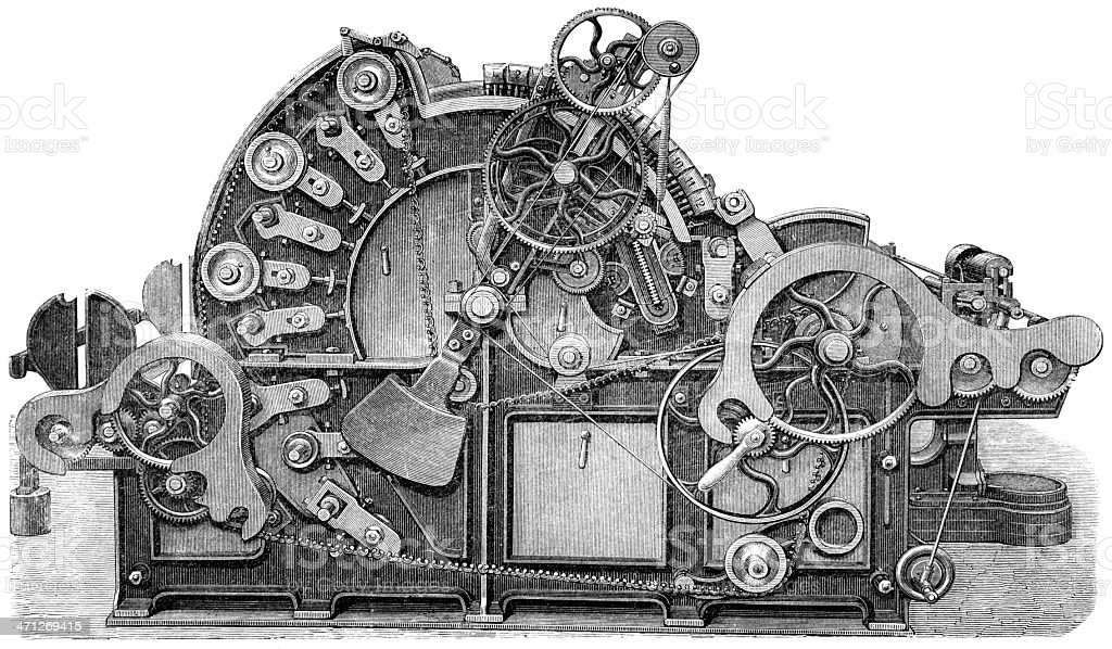 Illustration of machine with various gears and chains vector art illustration