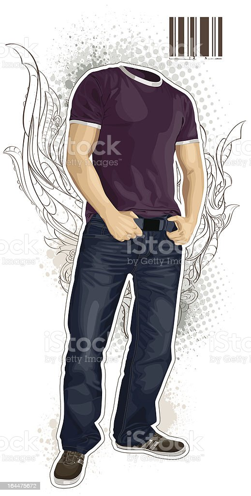 Illustration of man without head royalty-free stock vector art