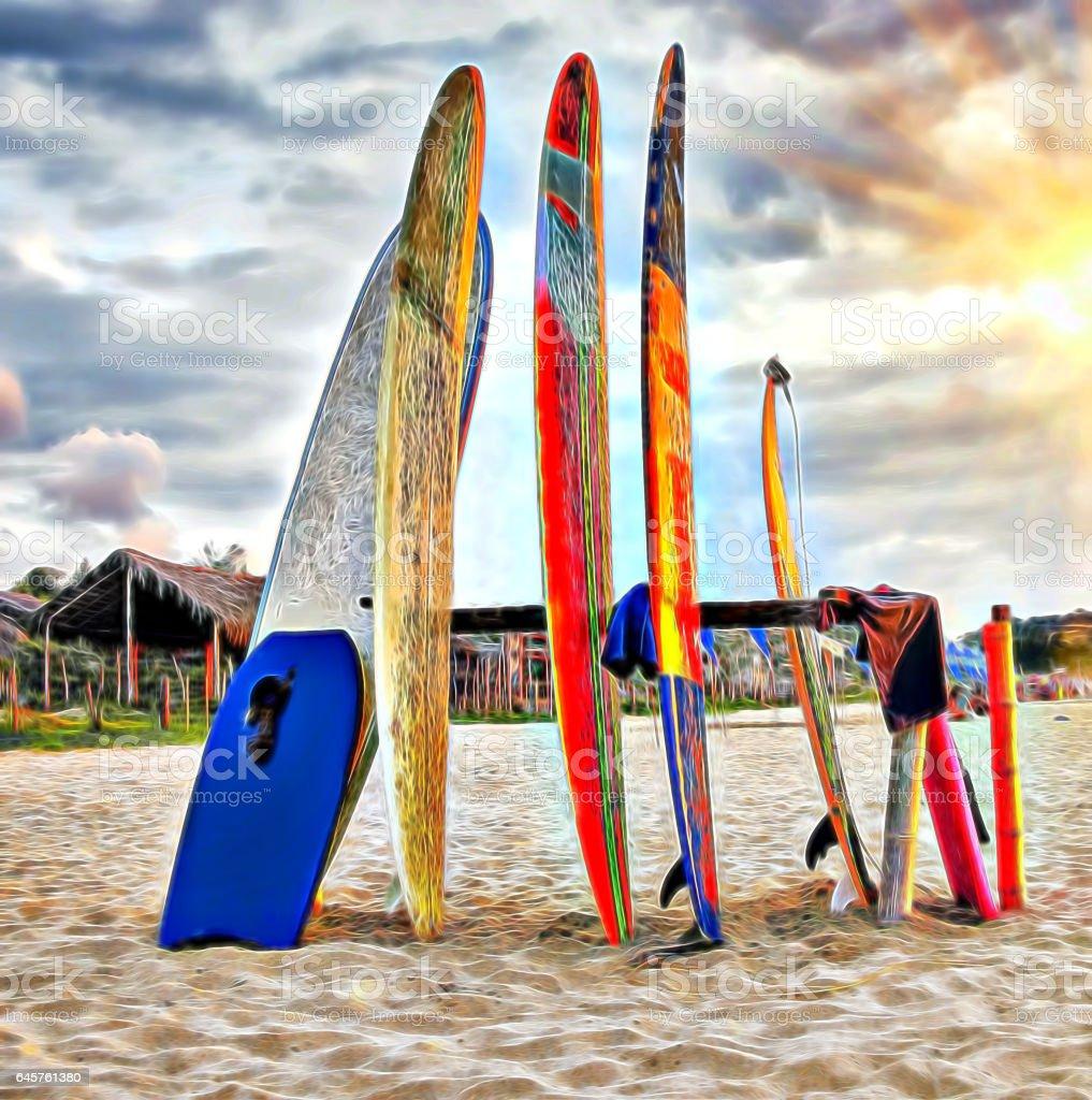 Illustration of вoards for surfing for rent om the sunset beach vector art illustration