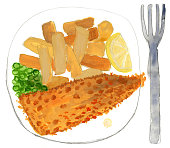 Illustration of painted fish and chips isolated on white