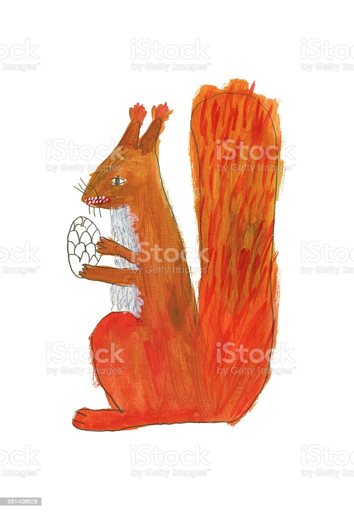 Illustration of painted squirrel holding pinecone vector art illustration