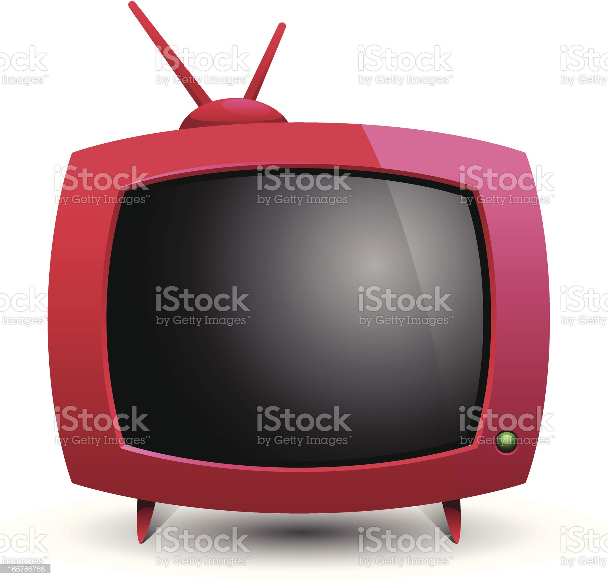 Illustration of red old television blank screen and antena royalty-free stock vector art