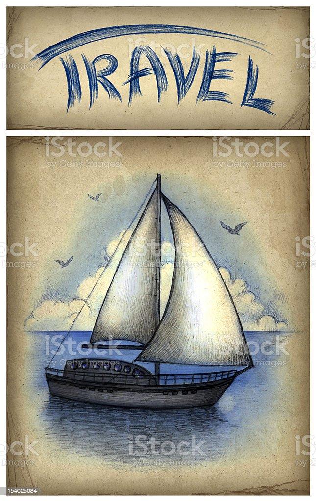 Illustration of sailing boat royalty-free stock vector art