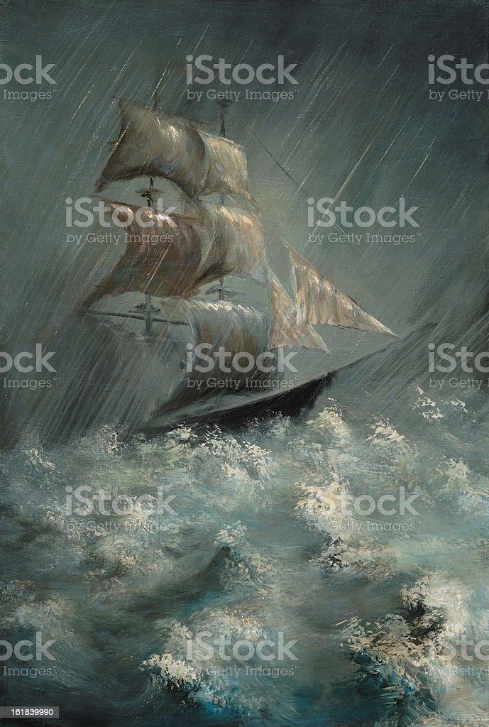 Illustration of ship in sea storm vector art illustration
