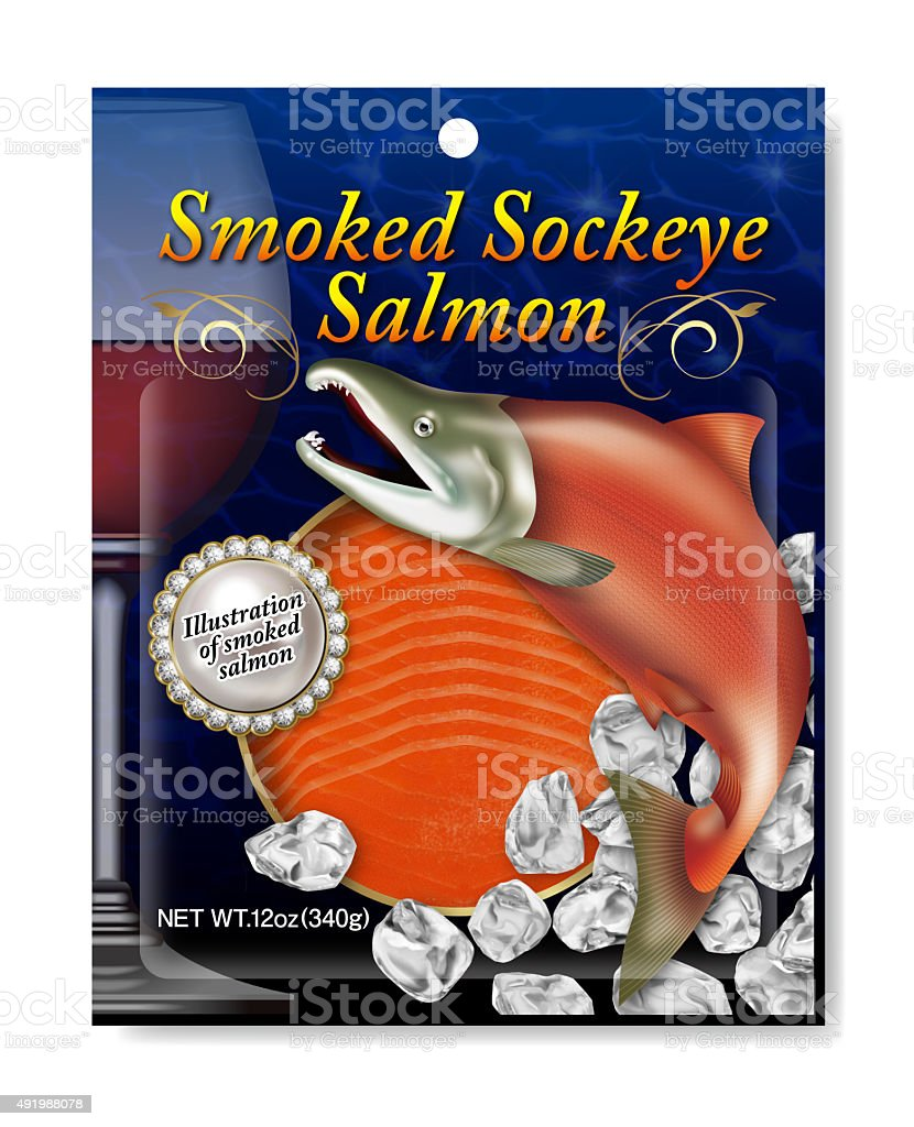 Illustration of smoked salmon. vector art illustration