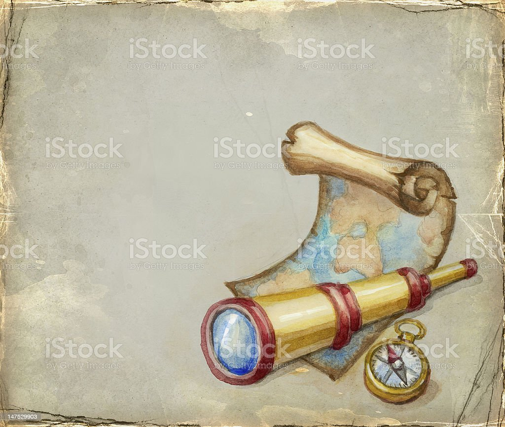 Illustration of spyglass, map and compass royalty-free stock vector art