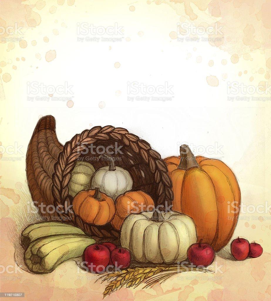 Illustration of thanksgiving items and pumpkins  vector art illustration