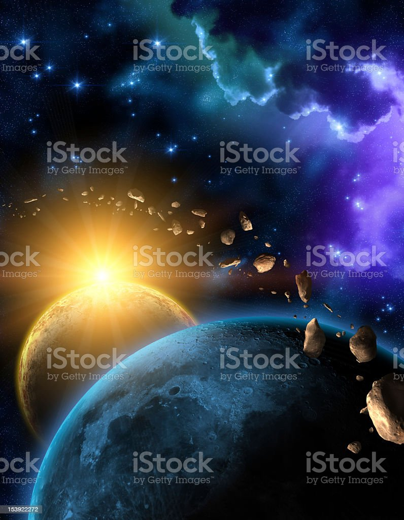 Illustration of the Earth, Moon, Sun and the asteroid belt royalty-free stock vector art