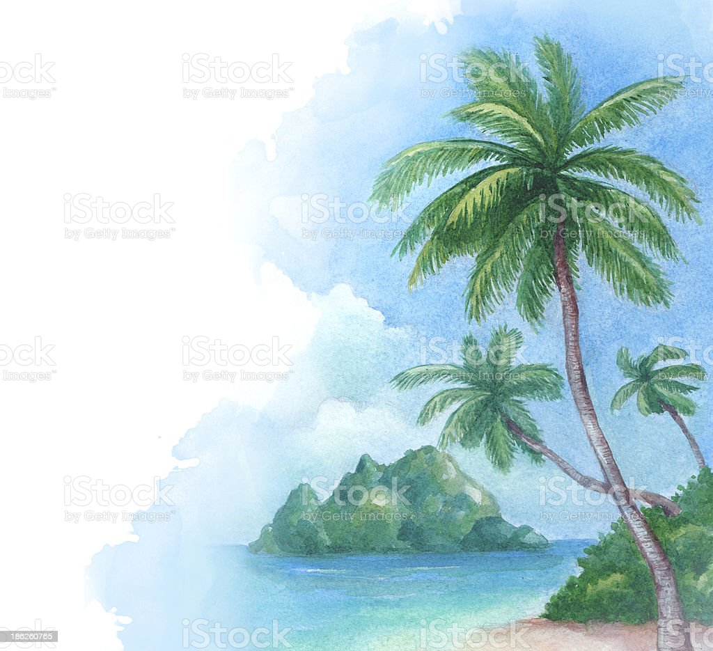 Illustration of the tropical beach vector art illustration