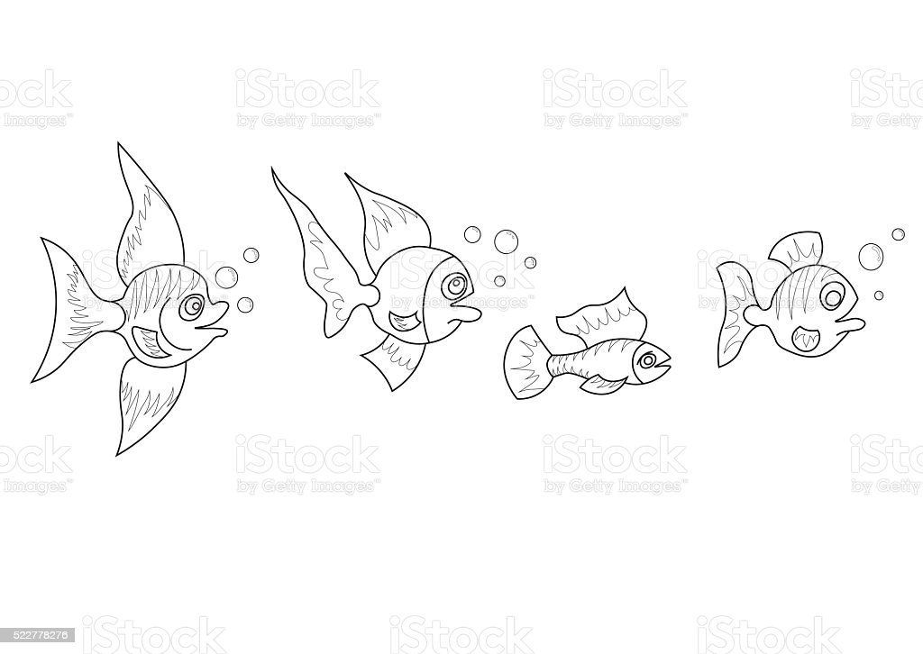 Illustration of tropical small fishes stock photo