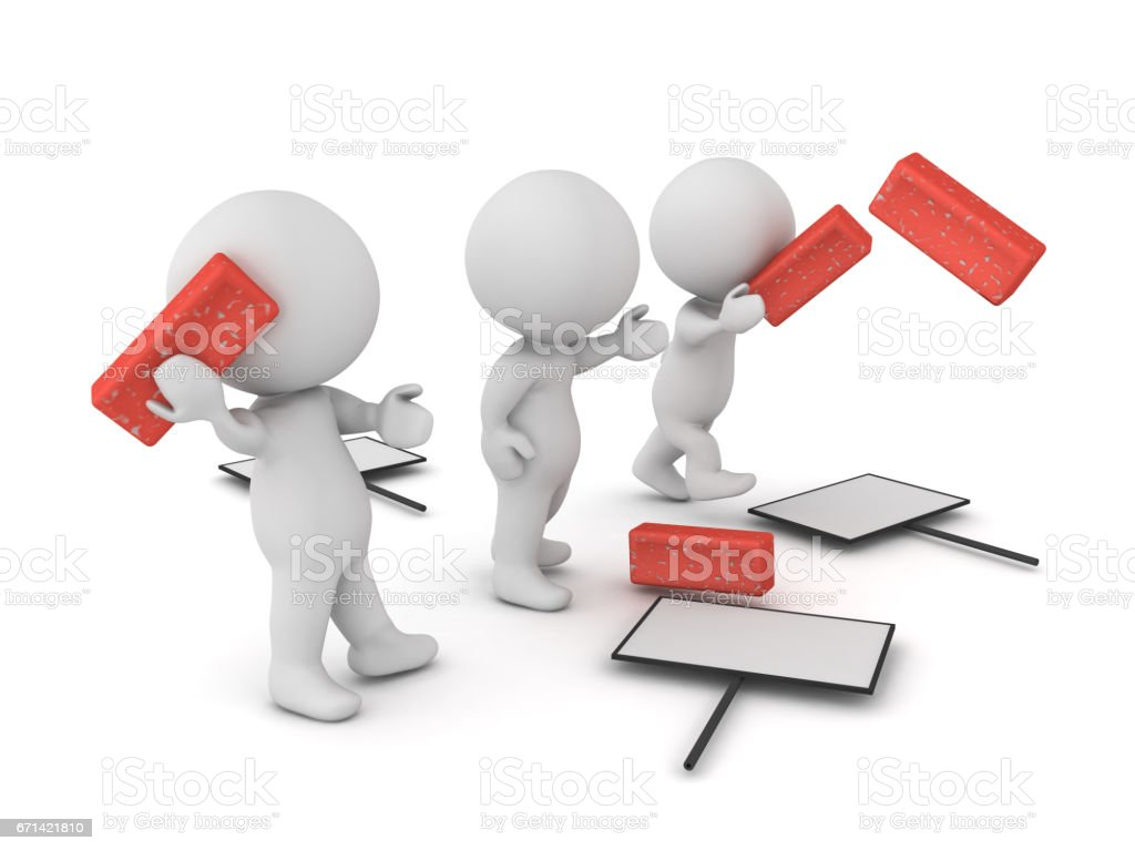 3D illustration of violent protesters throwing bricks stock photo