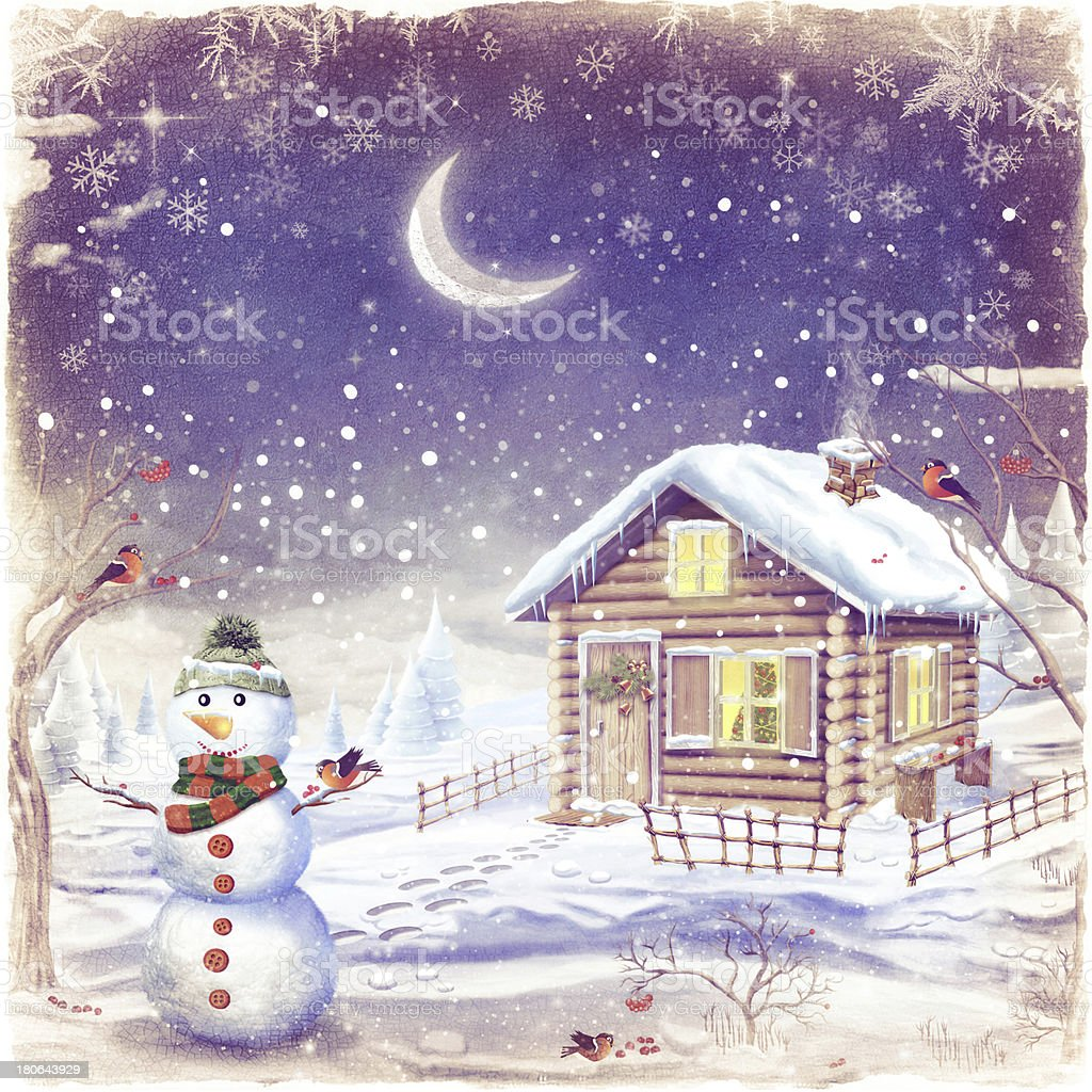 Illustration of winter landscape with snowman royalty-free stock vector art