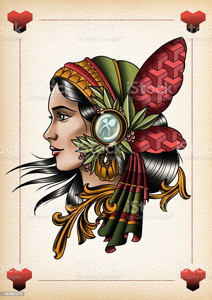 illustration tattoo style Gypsy2 vector art illustration