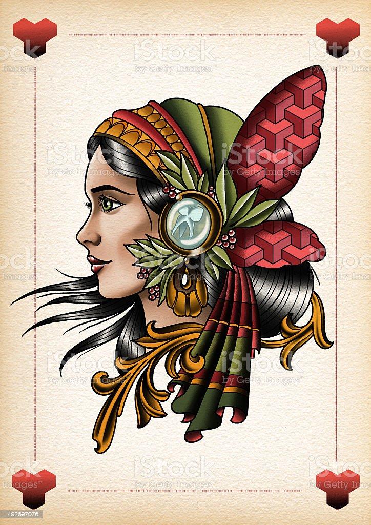 illustration tattoo style Gypsy2 vector art illustration