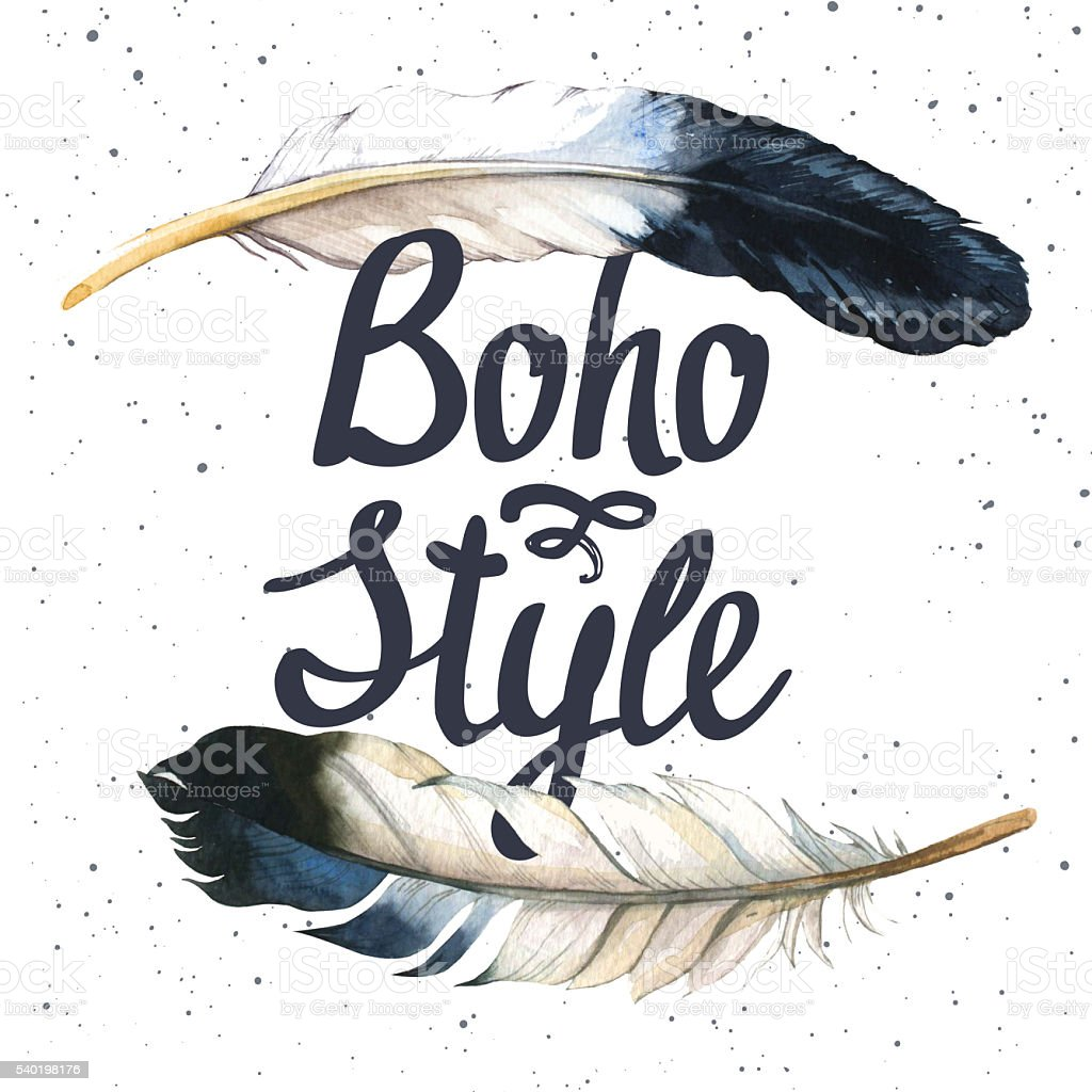 Illustration with boho-chic label. Watercolor feathers. vector art illustration