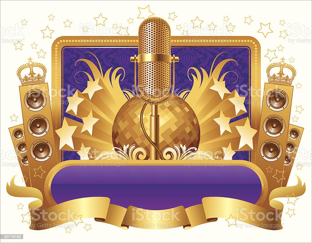 Illustration with golden musical objects royalty-free stock vector art