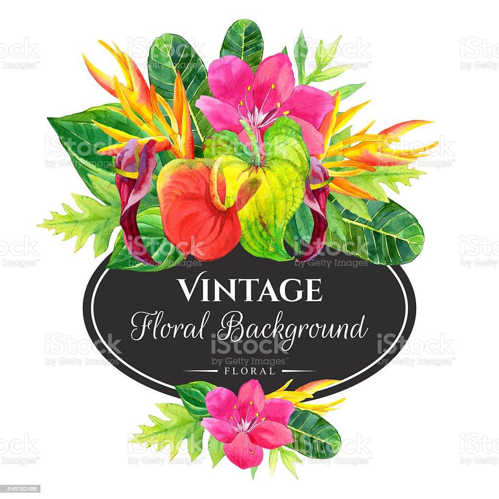 Illustration with realistic watercolor flowers. Botanical illust vector art illustration