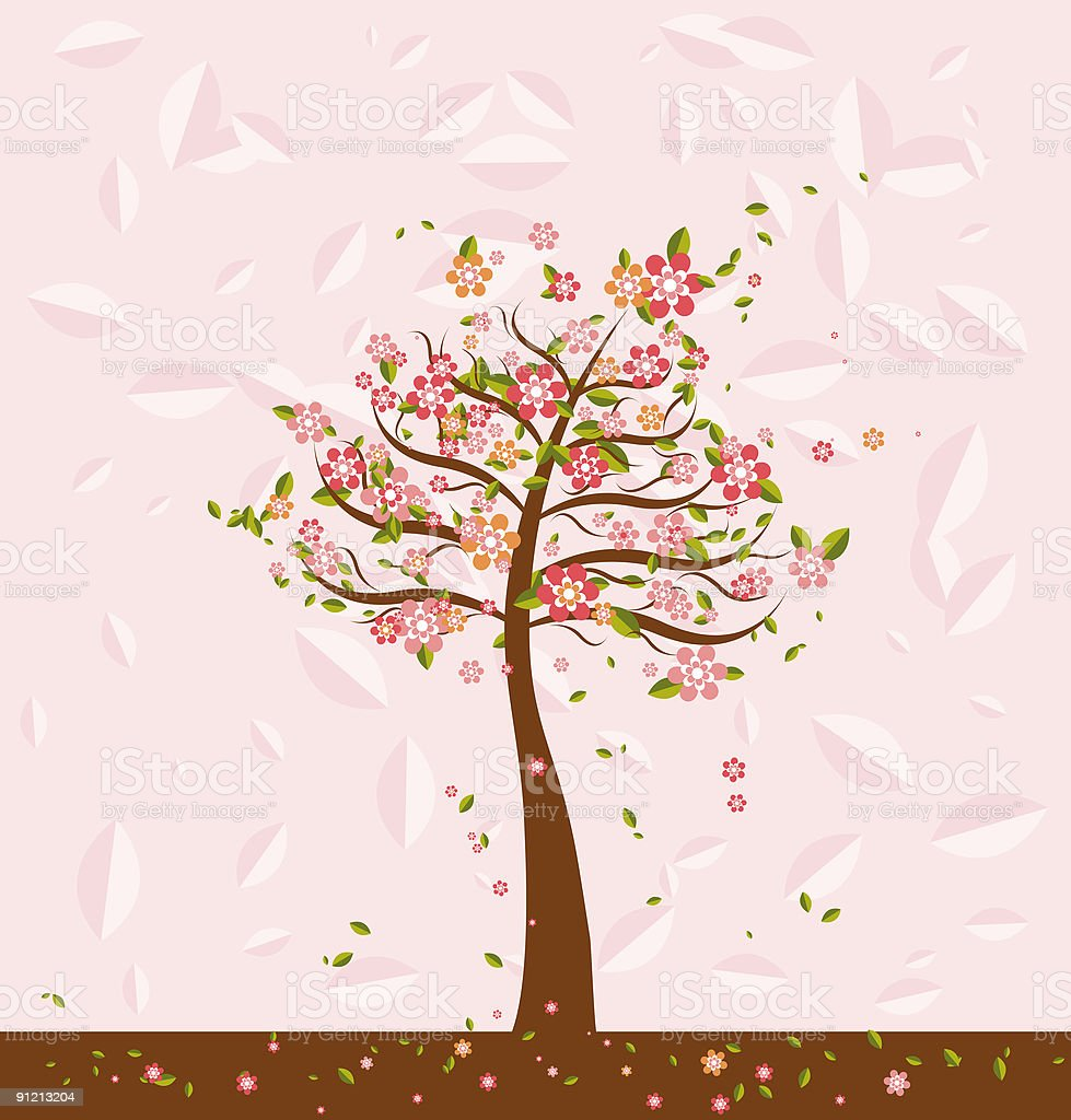 Illustration with trees,vector royalty-free stock vector art
