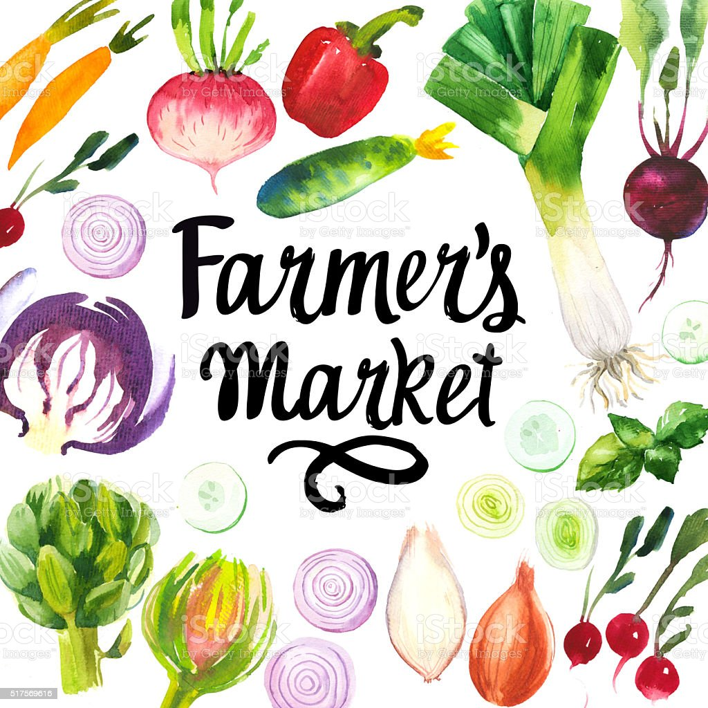 Illustration with watercolor food. Farmer's market. stock photo