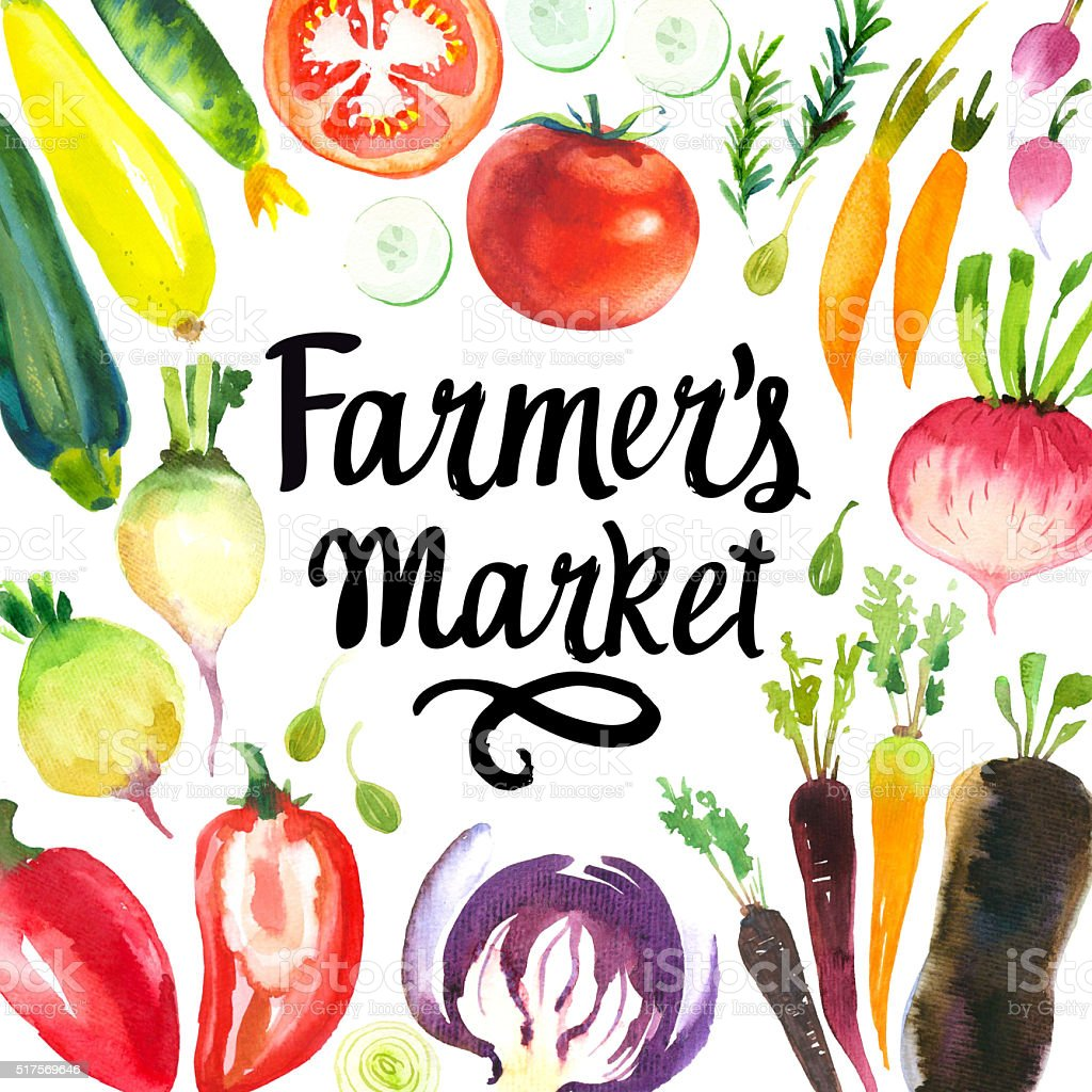 Illustration with watercolor food. Farmer's market. vector art illustration