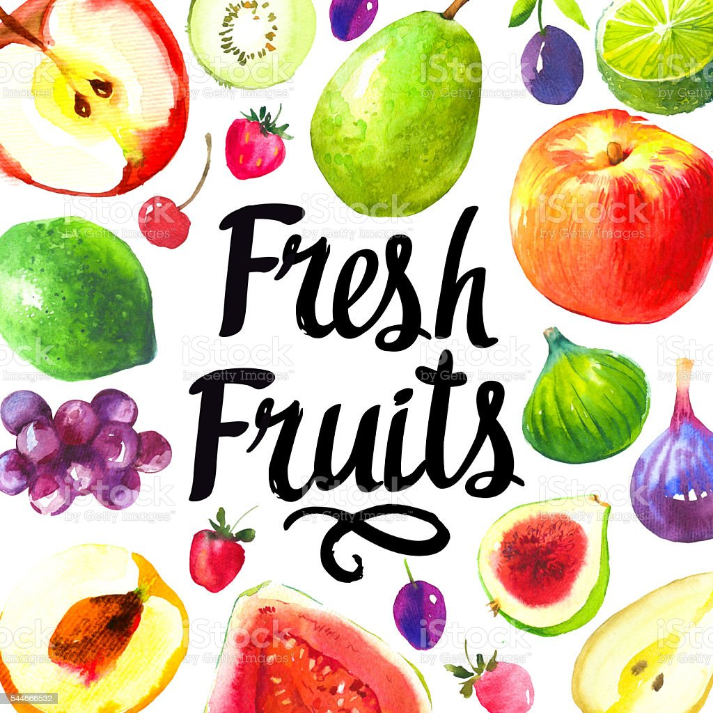 Illustration with watercolor food. Sketch set of fresh fruits. vector art illustration