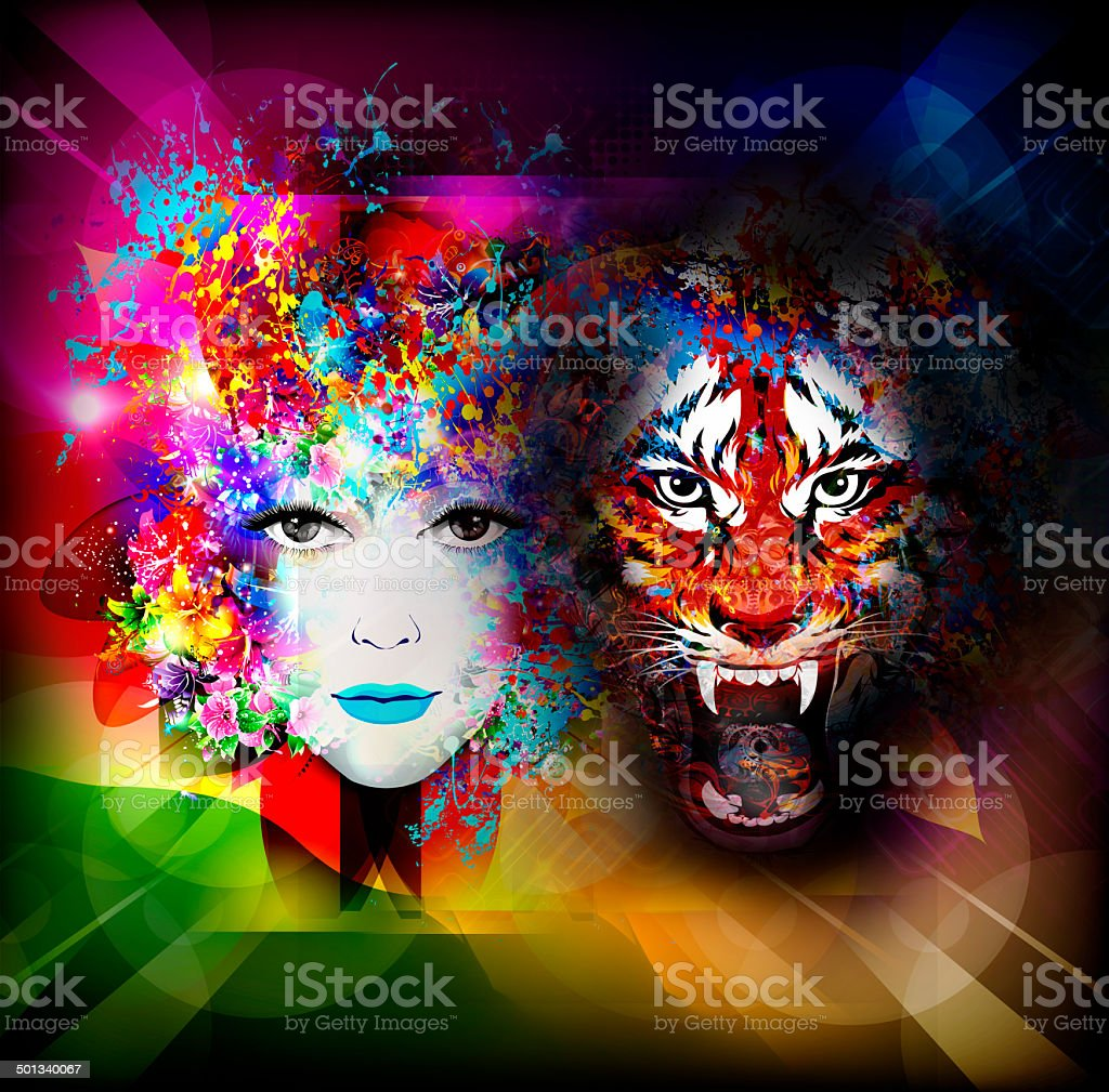 Illustration with woman and tiger vector art illustration