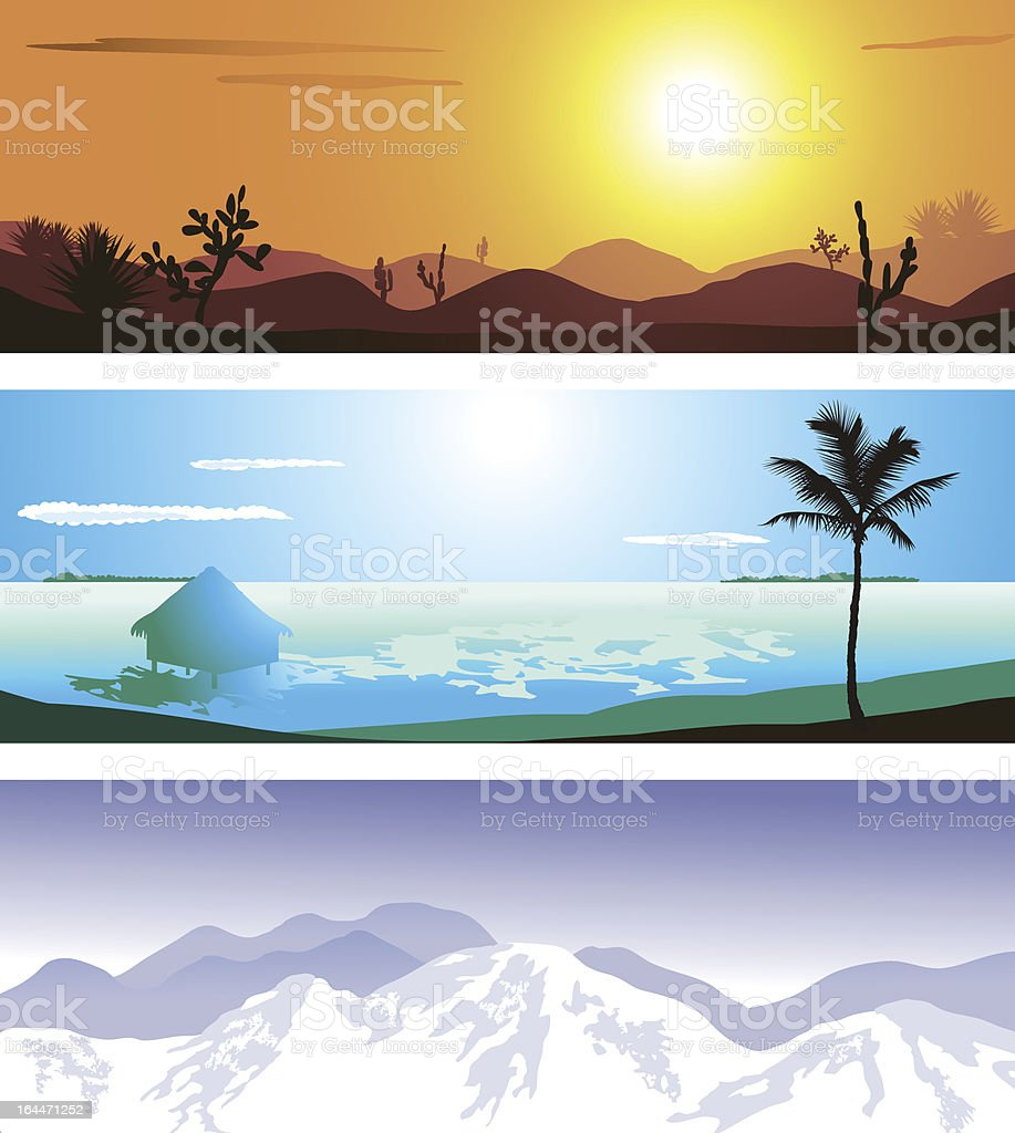Illustrations of 3 geographical locations vector art illustration