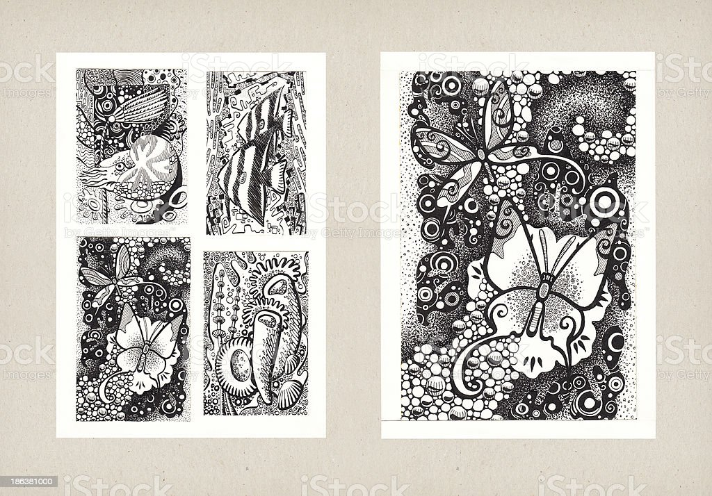 Illustrations of Animal Themes (Ink) stock photo