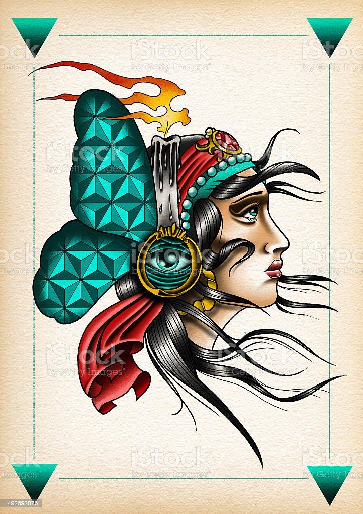 Illustrazioni Tattoo style Gitana1 vector art illustration