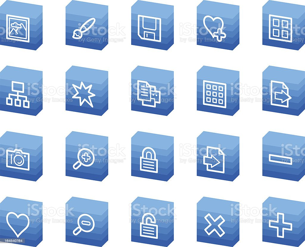 Image library  web icons, blue box series royalty-free stock vector art