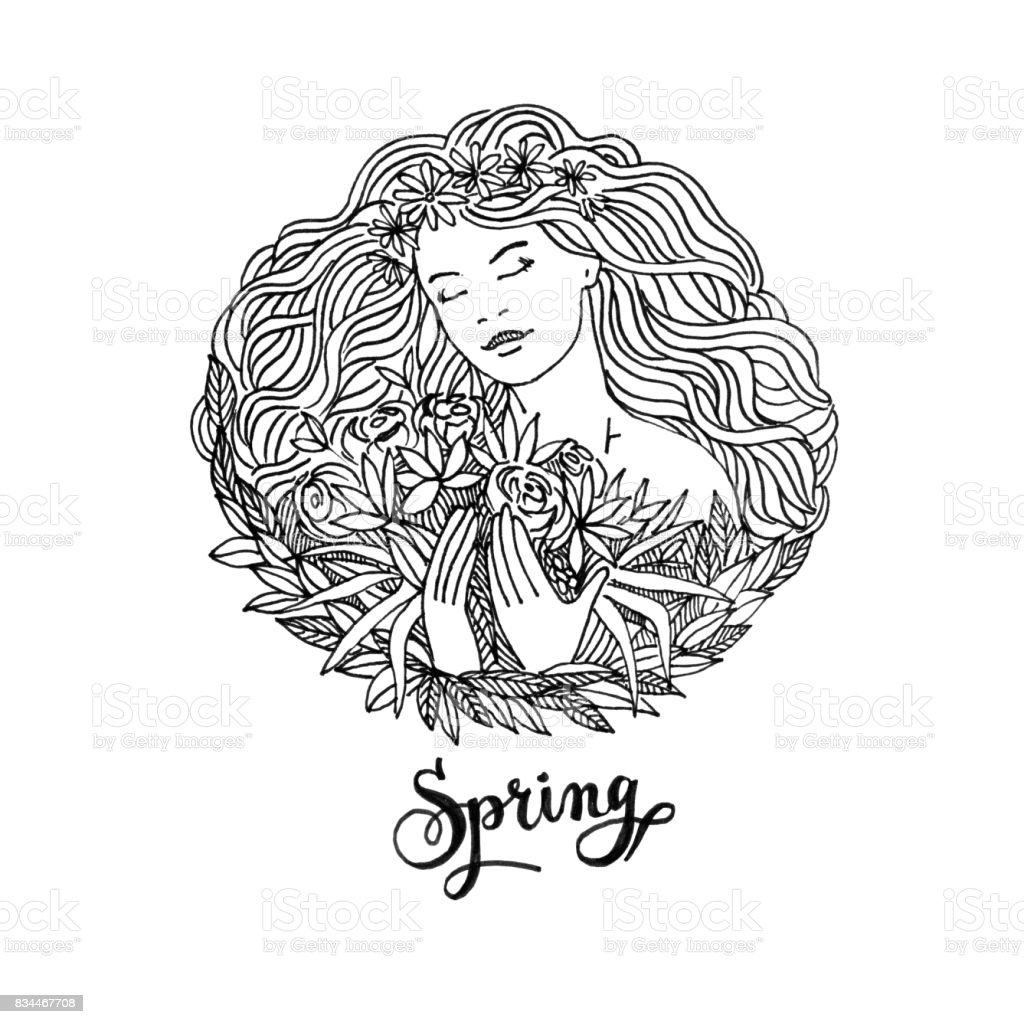 Image of a girl with a wreath in lines. Beautiful portrait of woman with flowers. vector art illustration
