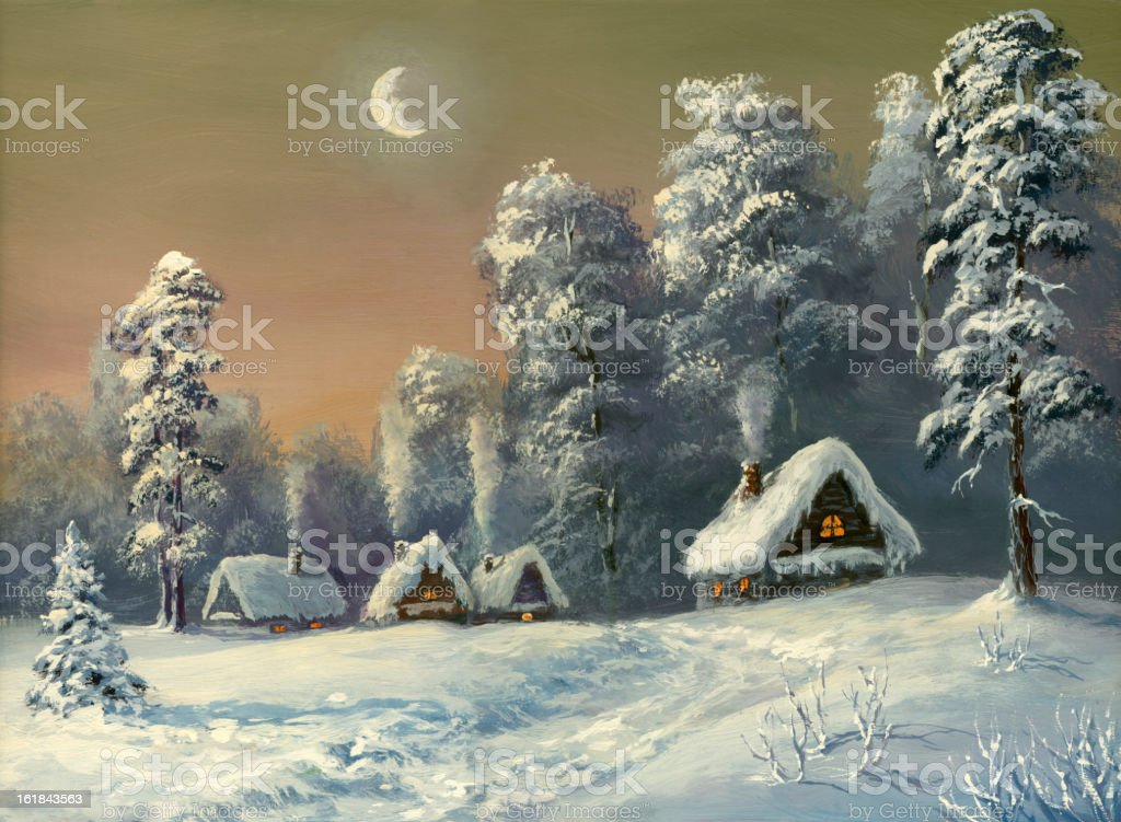Image of a village covered in snow royalty-free stock vector art