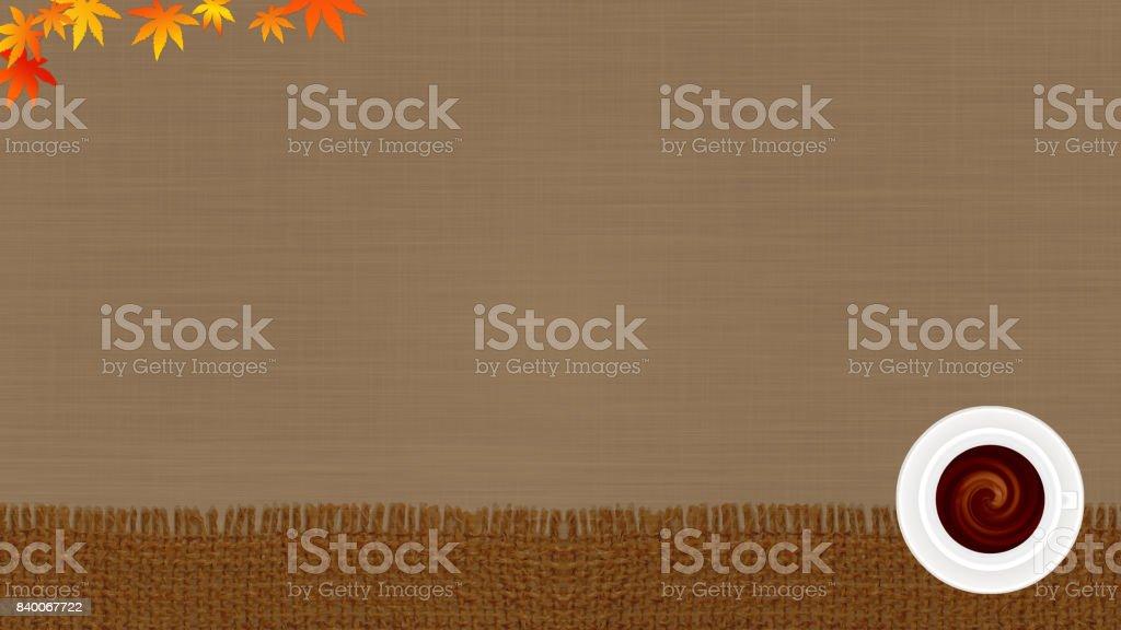 image of autumn, coffee break background (16:9 ratio) vector art illustration