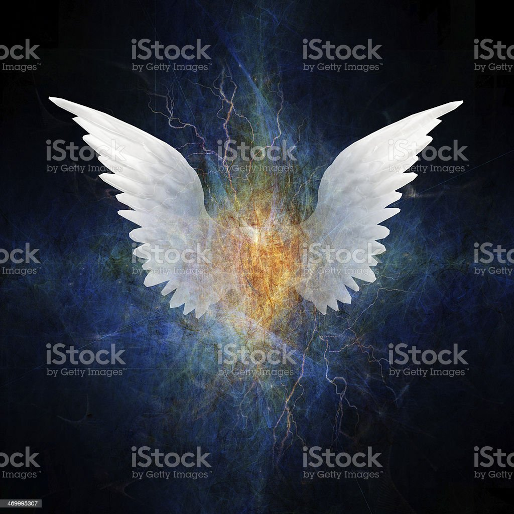 Image of beautiful angel wings spreading in lightning vector art illustration