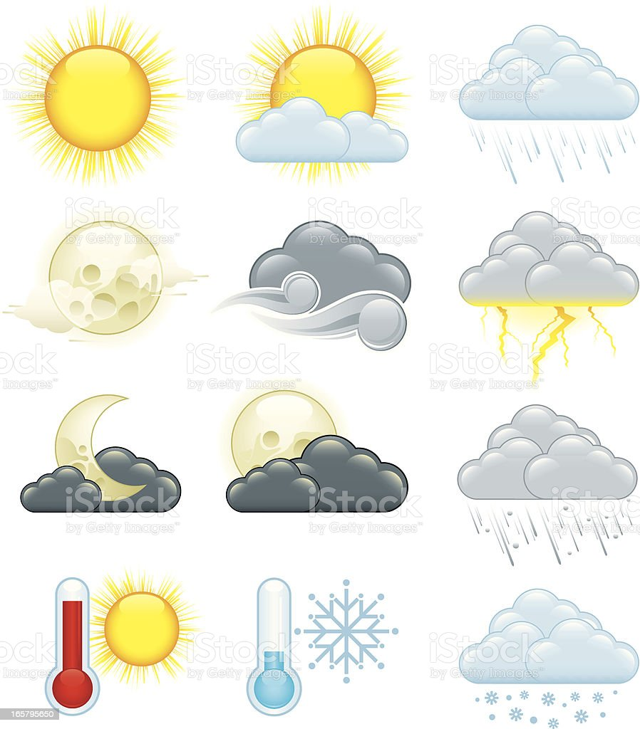 Image of twelve colored weather icons vector art illustration