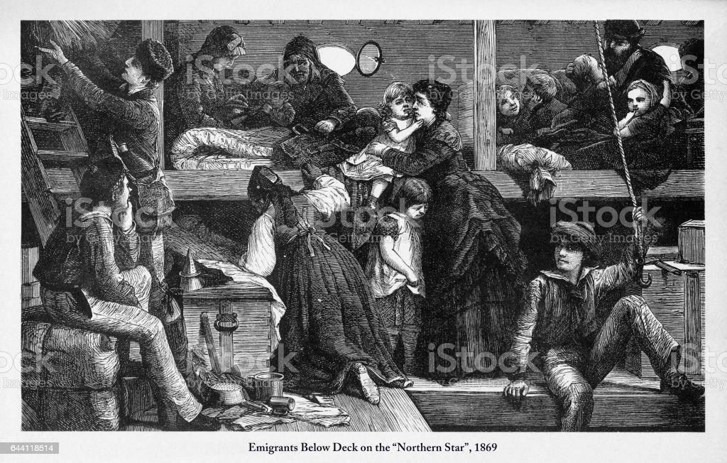 "Immigrants Below Deck on ""Northern Star"", 1869 Engraving vector art illustration"