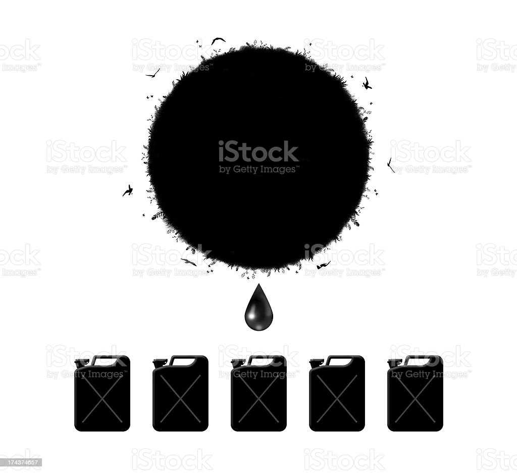 immoderate extraction of petroleum vector art illustration