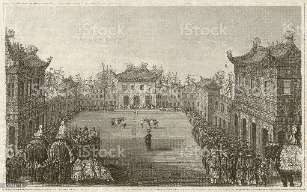 Imperial palace in Beijing, China, steel engraving, published in 1850 royalty-free stock vector art