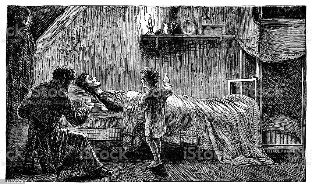 Impoverished and dying Victorian mother vector art illustration
