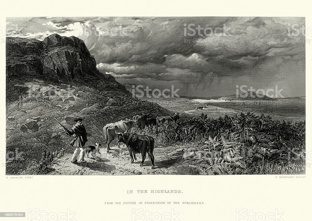In the Highlands of Scotland vector art illustration