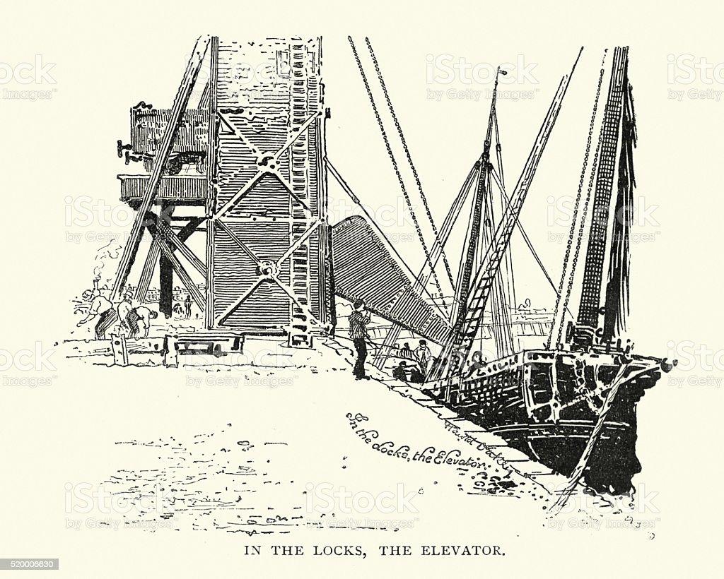 In the locks, Boston, Lincolnshire in the 19th Century vector art illustration
